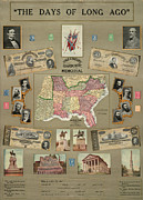 Longstreet Prints - Map: Confederate States Print by Granger