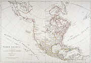 Canada Drawings Prints - Map depicting North America as Divided by the European Powers Print by American School
