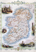 Ireland Map Framed Prints - Map: Ireland, 1851 Framed Print by Granger