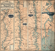 Mississippi Map Prints - MAP: MISSISSIPPI RIVER, c1863 Print by Granger