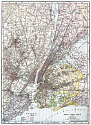 Manhattan Map Framed Prints - Map: New York Area, 1906 Framed Print by Granger