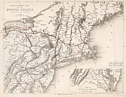 Rhode Island Map Prints - Map: Northeast U.s.a Print by Granger