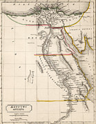 Old Drawings Posters - Map of Aegyptus Antiqua Poster by Sydney Hall