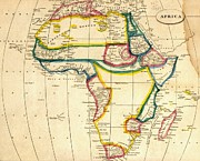 Cartography Mixed Media Prints - Map of Africa 1812 Print by Pg Reproductions