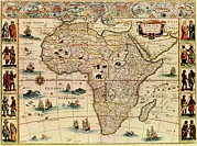 Slavery Prints - Map Of Africa From 1660s. Top Border Print by Everett