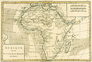 Antique Drawings - Map of Africa by Guillaume Raynal