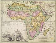 Antique Drawings Prints - Map of Africa Print by Pieter Schenk