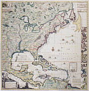 1733 Posters - Map Of America, 1733 Poster by Granger