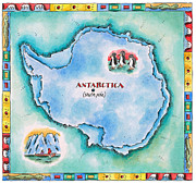 Text Map Framed Prints - Map Of Antarctica Framed Print by Jennifer Thermes