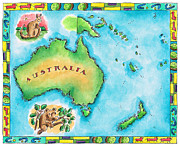 Koala Digital Art Prints - Map Of Australia Print by Jennifer Thermes