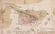 Watercolor Map Photos - Map Of Battle From The American by Photo Researchers
