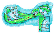 Pen Digital Art - Map Of Bermuda by Jennifer Thermes