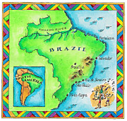 Music Map Digital Art Posters - Map Of Brazil Poster by Jennifer Thermes