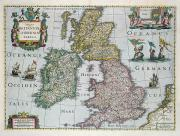 Coloured Drawings - Map of Britain by English school