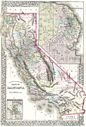 California Drawings Metal Prints - Map Of California and San Francisco Metal Print by Pg Reproductions