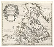 Old Drawings Posters - Map of Canada or New France Poster by Guillaume Delisle