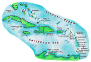 Pen Digital Art - Map Of Caribbean Islands by Jennifer Thermes