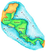 Latin Digital Art Posters - Map Of Central America Poster by Jennifer Thermes