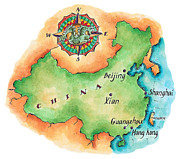 Shanghai China Prints - Map Of China Print by Jennifer Thermes