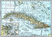 Cuba Mixed Media - Map of Cuba by Pg Reproductions