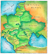 Romania Digital Art - Map Of Eastern Europe by Jennifer Thermes