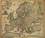1600s Posters - Map Of Europe, 1700 Poster by Photo Researchers