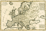 Antique Drawings - Map of Europe by Guillaume Raynal