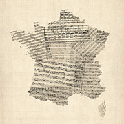 Old Map Digital Art Framed Prints - Map of France Old Sheet Music Map Framed Print by Michael Tompsett