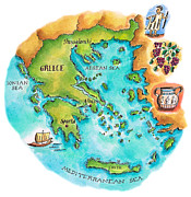 Pen Digital Art - Map Of Greece & Greek Isles by Jennifer Thermes