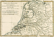 Vintage Map Drawings Framed Prints - Map of Holland Including the Seven United Provinces of the Low Countries Framed Print by Guillaume Raynal