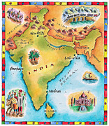 Mahal Digital Art Posters - Map Of India Poster by Jennifer Thermes