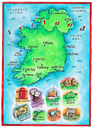 Old Map Digital Art Framed Prints - Map Of Ireland Framed Print by Jennifer Thermes