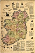 Nationalists Framed Prints - Map Of Ireland Supporting The 1893 Home Framed Print by Everett