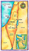 Text Map Framed Prints - Map Of Israel Framed Print by Jennifer Thermes