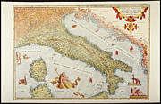 Cartography Digital Art Framed Prints - Map Of Italy In 1500 Framed Print by Fototeca Storica Nazionale