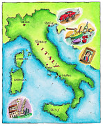 Sicily Digital Art Posters - Map Of Italy Poster by Jennifer Thermes