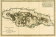Vintage Map Drawings - Map of Jamaica by Guillaume Raynal 