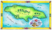 Caribbean Sea Framed Prints - Map Of Jamaica Framed Print by Jennifer Thermes