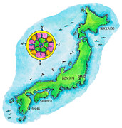 Flower Map Posters - Map Of Japan Poster by Jennifer Thermes