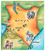 Pen Digital Art - Map Of Kenya by Jennifer Thermes