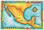 Pen Digital Art - Map Of Mexico by Jennifer Thermes