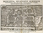 Middle Ages Prints - Map Of Moscow, 16th Century Print by Middle Temple Library