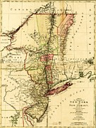 Old Map Photos - Map Of New York and New Jersey by Pg Reproductions
