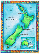 Text Map Framed Prints - Map Of New Zealand Framed Print by Jennifer Thermes