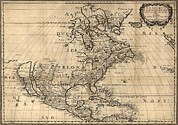 Map Of North America Continent Showing Print by Everett