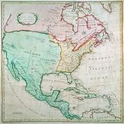 America Paintings - Map of North America by English School
