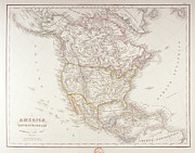 Cartography Digital Art Prints - Map Of North America Print by Fototeca Storica Nazionale