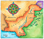 Persian Gulf Countries Framed Prints - Map Of Pakistan Framed Print by Jennifer Thermes