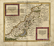 Map Of Palestine, 1588 Print by Photo Researchers
