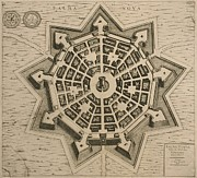 Star Drawings Framed Prints - Map of Palmanova Framed Print by French School